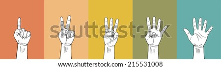Counting Fingers 1-2-3-4-5 - stock vector