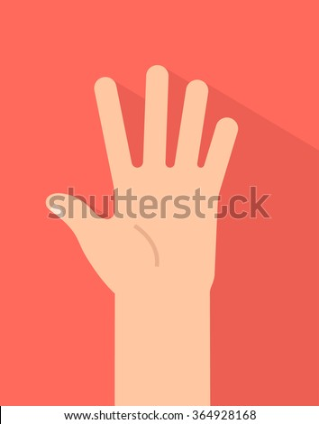 Counting fingers - number five. Hand showing five fingers, high five sign. Communication gestures concept. Vector illustration isolated on colorful background with shadow flat design. - stock vector