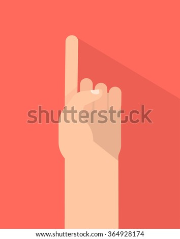 Counting fingers - number one. The index finger pointing up. Communication gestures concept. Vector illustration isolated on colorful background with shadow flat design. - stock vector