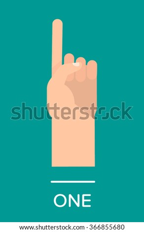 Counting fingers - number one. The index finger pointing up. Communication gestures concept. Vector illustration isolated on colorful background with text flat design. - stock vector