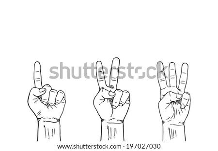 Counting 1-2-3 Fingers on Left Hand : Coloring Book - stock vector