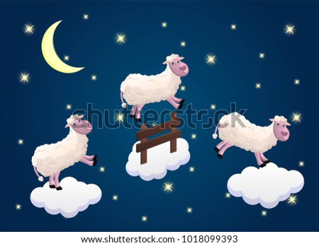 Counting Sheep Happy Sheeps Jumping On Clouds Sweet Dreams Fall Asleep Night
