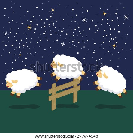 Counting Sheep in Night Background - stock vector