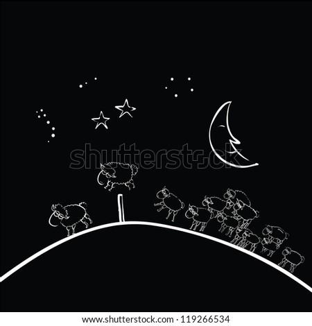 counting sheep sleepless vector - stock vector