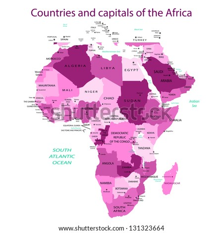 Countries and capitals of the Africa - stock vector