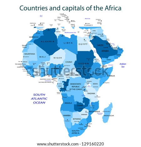 Countries and capitals of the Africa - blue Vector illustration - stock vector