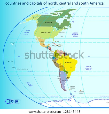 countries and capitals of the America - stock vector