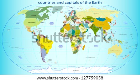 countries and capitals of the Earth, vector illustration - stock vector