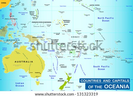 Countries Capitals Oceania Stock Vector Shutterstock - Oceania political map countries