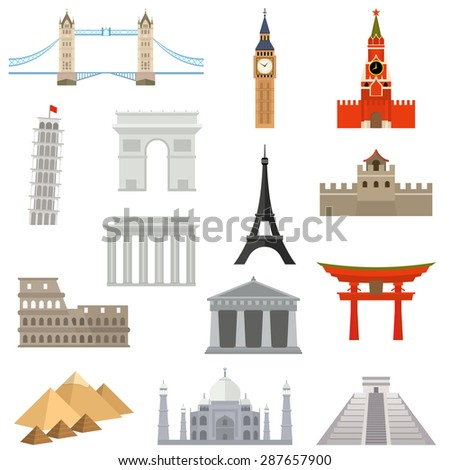 countries of the world vector logo design template. architecture, monument or landmark icon. - stock vector