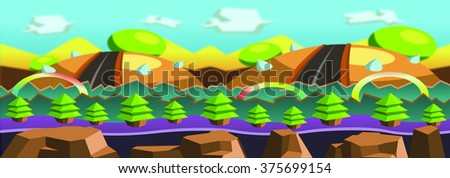 Country Background with Roads, Green Trees, Blue Sky, Clouds, Mountains, Rocks Cartoon Vector - stock vector