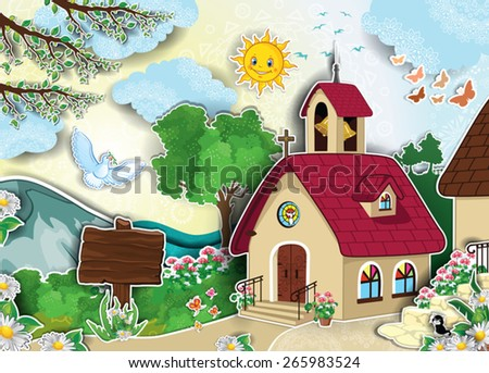 Country church and bell tower in landscape adhesive effect-Transparency blending effects and gradient mesh-EPS 10 - stock vector