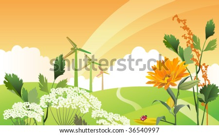 Country eco landscape. All elements and textures are individual objects. Vector illustration scale to any size. - stock vector