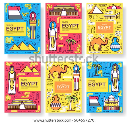 country egypt travel vacation guidevector brochure card thin line set thinking the idea linear template