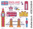 Country England travel vacation guide of goods, place and feature. Set of architecture, fashion, people, item, nature background concept. Infographic traditional ethnic flat, outline, thin line icon - stock vector