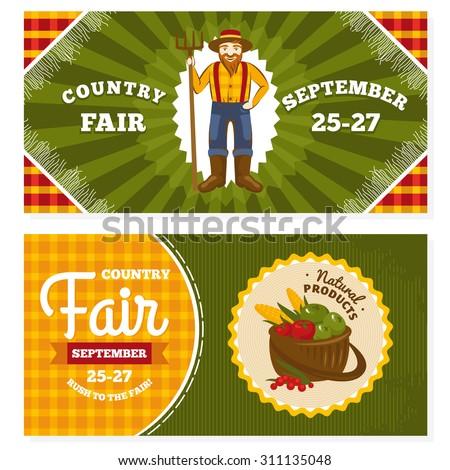 Country fair vintage invitation cards vector illustration - stock vector