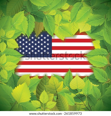 Country flag covered with dense, green leaves