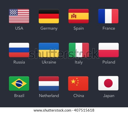 Country Flags icons. Vector illustration