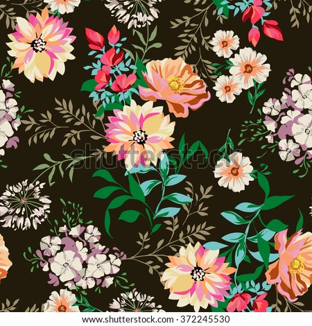 country flower print ~ seamless background - stock vector