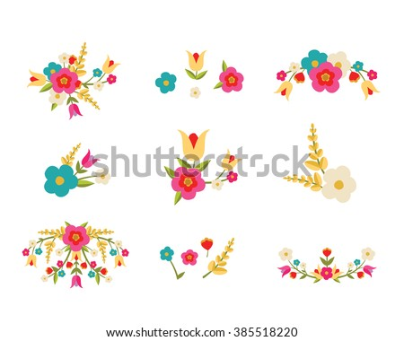 Country Flowers - stock vector