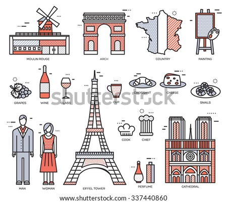 Country France trip guide of goods, places in thin lines style design. Set of architecture, fashion, people, nature background concept. Infographic template design for web and mobile on vector flat