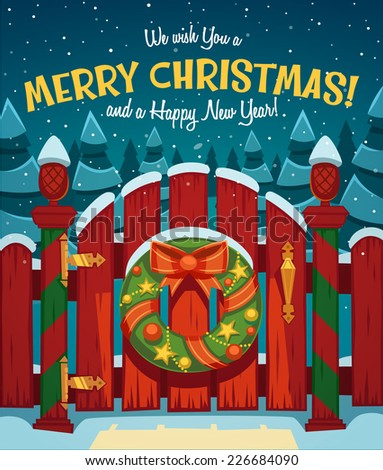 Country gate. Christmas card \ poster \ banner. Vector illustration. - stock vector