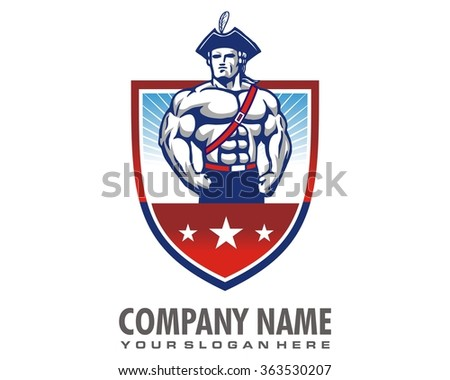 country heroes body builder logo icon vector character illustration