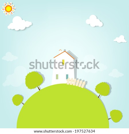 country house on hill with trees. flat paper illustration - stock vector