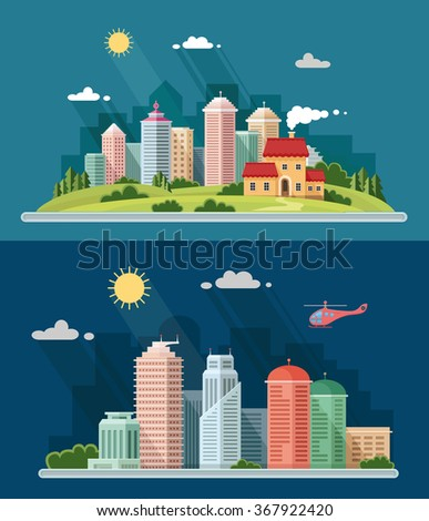 Country house on the background of the city. Urban landscape with skyscrapers. Flat style vector illustration. - stock vector