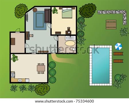 country house scheme with furniture, garden, vector - stock vector