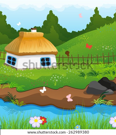 Country house with a thatched roof on the bank of a small river. Dense forest and blue sky in the background