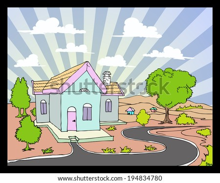 country house with sky background - stock vector