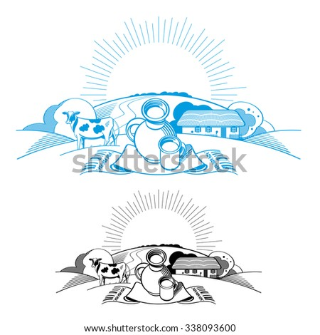 Country landscape with cow and still life - crock and cup of milk - stock vector