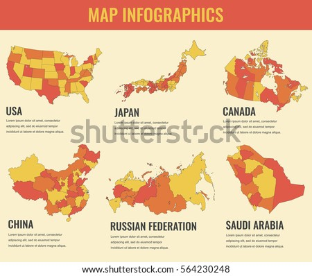 Country Maps Infographic Template Usa Japan Canada China Russia Saudi