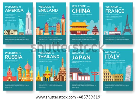 Country Usa England China Frnace Russia Stock Vector 2018