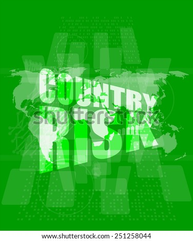 country risk words on digital screen with world map - stock vector