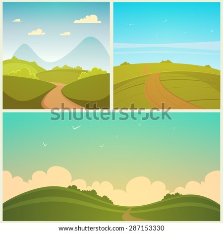 Country Road Set - stock vector