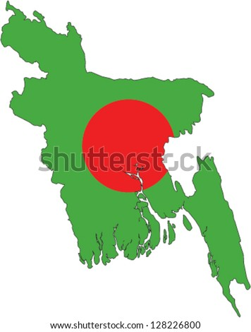 Country shape outlined and filled with the flag of Bangladesh