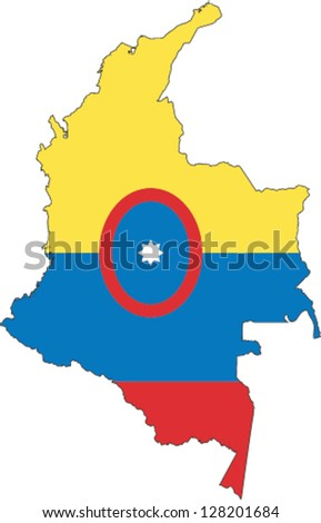 Country shape outlined and filled with the flag of Colombia - stock vector
