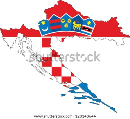 Country shape outlined and filled with the flag of Croatia - stock vector