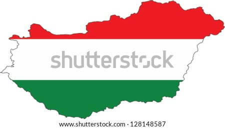 Country shape outlined and filled with the flag of Hungary