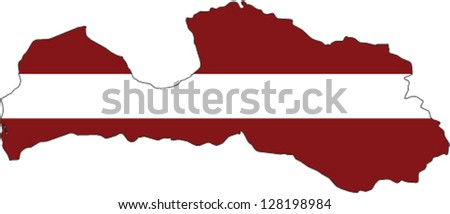 Country shape outlined and filled with the flag of Latvia - stock vector