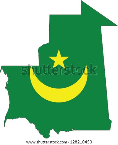 Country shape outlined and filled with the flag of Mauritania