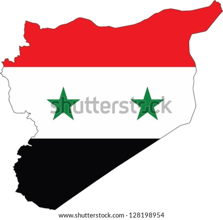 Country shape outlined and filled with the flag of Syria - stock vector