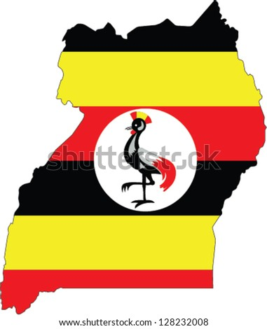 Country shape outlined and filled with the flag of Uganda - stock vector
