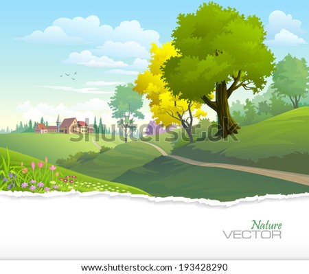 Country side view of a town with green trees, fresh grass and blue sky - stock vector