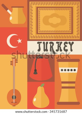 country Turkey icon set