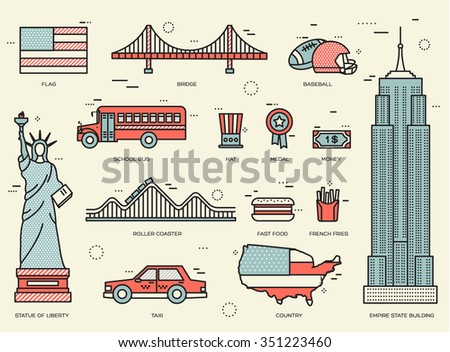 Country USA travel vacation guide of goods, places and features. Set of architecture, foods, sport, items, nature background concept. Infographics template design for web and mobile. On thin lines  - stock vector