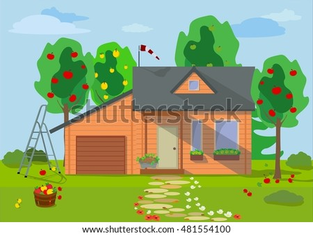 Country wooden eco house with fruit trees and flower lawn in a flat style. Vector. Rural landscape with wooden eco house with fruit trees, flowers, blue sky and garden objects in flat style.