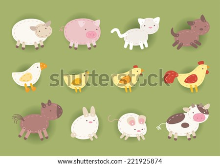 Countryside animals made out of cloth, chicken, cow, horse, dog, cat, pig, rabbit,sheep, duck and rooster. Vector illustration.  - stock vector